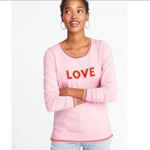 """Pink Old Navy """"Love"""" Graphic Sweater-Lg"""